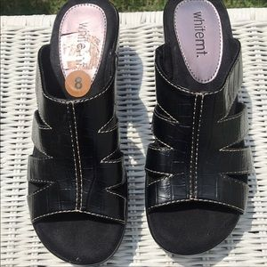 Whitemt. Black Wedge Sandals 8